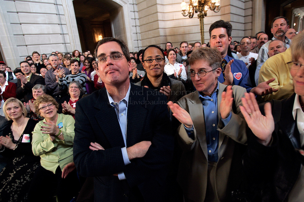 SAN FRANCISCO - FEBRUARY 12:  City Attorney Dennis Herrera attends the 1st wedding anniversary bash hosted by Mayor Gavin Newsom in City Hall on Saturday February 12, 2004. Several thousand couples along with their family and friends attended the morning event which will include celebrations throughout the day.  Photograph by David Paul Morris