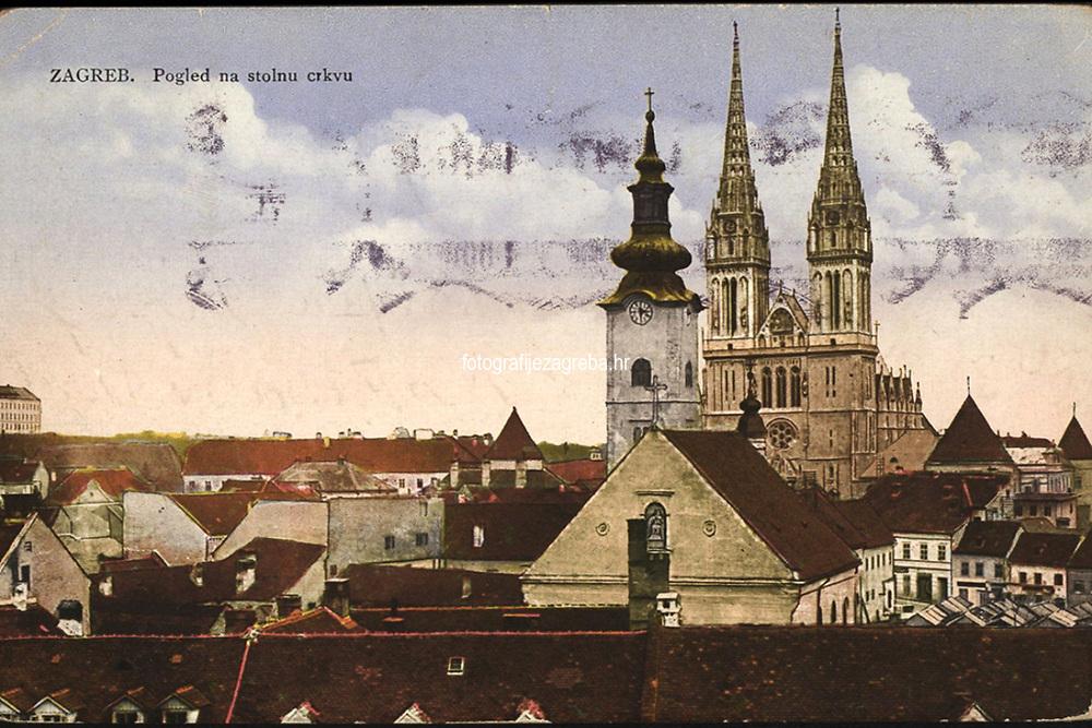Zagreb : Pogled na stolnu crkvu. <br /> <br /> ImpresumZagreb : Naklada Rudolf Polaček, [1927].<br /> Materijalni opis1 razglednica : tisak ; 9 x 13,9 cm.<br /> NakladnikRudolf Polaček<br /> Mjesto izdavanjaZagreb<br /> Vrstavizualna građa • razglednice<br /> ZbirkaGrafička zbirka NSK • Zbirka razglednica<br /> Formatimage/jpeg<br /> PredmetZagreb –– Kaptol<br /> Katedrala Uznesenja Marijina (Zagreb) • Crkva sv. Marije (Zagreb)<br /> SignaturaRZG-KAP-44<br /> Obuhvat(vremenski)20. stoljeće<br /> NapomenaRazglednica je putovala 1927. godine.<br /> PravaJavno dobro<br /> Identifikatori000955416<br /> NBN.HRNBN: urn:nbn:hr:238:281147 <br /> <br /> Izvor: Digitalne zbirke Nacionalne i sveučilišne knjižnice u Zagrebu