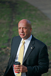 31 January 2014. New Orleans, Louisiana. <br /> Ray Nagin, former mayor of New Orleans walks to Federal court on the first full day of his corruption trial at the Federal Courthouse. Nagin is charged with 21counts of corruption including  bribery, conspiracy, money laundering and wire fraud. <br /> Photo; Charlie Varley