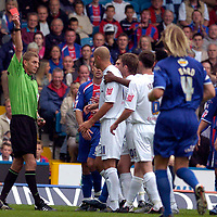 Photo: Alan Crowhurst.<br />Crystal Palace v Preston NE. Coca Cola Championship.<br />24/09/2005. Referee Steve Tanner sends Danny Dichio off for barging into Clinton Morrison after a confrontation by the teams.