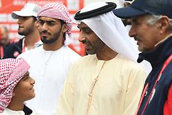 March 1, 2019 - Ajman, United Arab Emirates - Sheikh Ahmed bin Humaid Al Nuaimi, Chairman of the Economic Department of Ajman Emirate seen at the start line of the sixth Rak Properties Stage of UAE Tour 2019, a 180km with a start from Ajman and finish in Jebel Jais. .On Friday, March 1, 2019, in Ajman, Ajman Emirate, United Arab Emirates. (Credit Image: © Artur Widak/NurPhoto via ZUMA Press)