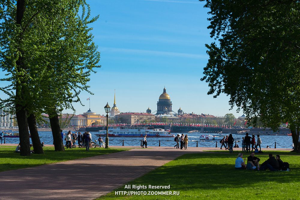 Neva River And St Isaak's Cathedral Panorama, Saint Petersburg