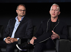 LOS ANGELES - AUGUST 9: (L-R) Brad Simpson and Ryan Murphy onstage during 'The Assassination of Gianni Versace: American Crime Story' panel during the FX portion of the 2017 Summer TCA press tour at the Zanuck Theatre on the Fox Studio Lot on August 9, 2017 in Los Angeles, California. (Photo by Frank Micelotta/FX/PictureGroup) *** Please Use Credit from Credit Field ***