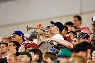 July 18 2009: A USA fan plays a trumpet in the stands during the game between USA and Panama. The United States defeated Panama 2-1 in added extra time in a CONCACAF Gold Cup quarter-final match at Lincoln Financial Field in Philadelphia, Pennsylvania.