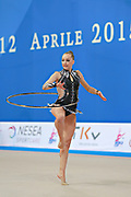 Bogdanova Olga during qualifying at hoop in Pesaro World Cup 10 April 2015.<br /> Olga is an Estonian athlete born on december 24,1994 in Tallin.She has twin sister Viktoria has also represented Estonia in rhythmic gymnastics.