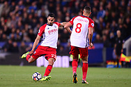 Nacer Chadli of West Bromwich Albion scores his teams 1st goal to make it 0-1 .Premier league match, Leicester City v West Bromwich Albion at the King Power Stadium in Leicester, Leicestershire on Monday 16th October 2017.<br /> pic by Bradley Collyer, Andrew Orchard sports photography.