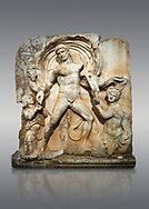 Roman Sebasteion rrelief  sculpture of Emperor Claudius as God of sea and land,  Aphrodisias Museum, Aphrodisias, Turkey. <br /> <br /> The Emperor as god Claudius strides forward in a divine epiphany, drapery billowing around his head. He receives a cornucopia with fruits of the earth from a figure emerging from the ground, anda ship's steering oar from a marine tritoness with fish legs. The idea is clear: the god-emperor guarantees the prosperity of land and sea. The relief is a remarkable local visualisation - elevated and panegyrical - of the emperor's role as a universal saviour and divine protector. .<br /> <br /> If you prefer to buy from our ALAMY STOCK LIBRARY page at https://www.alamy.com/portfolio/paul-williams-funkystock/greco-roman-sculptures.html . Type -    Aphrodisias     - into LOWER SEARCH WITHIN GALLERY box - Refine search by adding a subject, place, background colour, museum etc.<br /> <br /> Visit our ROMAN WORLD PHOTO COLLECTIONS for more photos to download or buy as wall art prints https://funkystock.photoshelter.com/gallery-collection/The-Romans-Art-Artefacts-Antiquities-Historic-Sites-Pictures-Images/C0000r2uLJJo9_s0