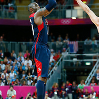 06 August 2012: USA Kobe Bryant takes a three points jumpshot during 126-97 Team USA victory over Team Argentina, during the men's basketball preliminary, at the Basketball Arena, in London, Great Britain.