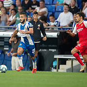 BARCELONA, SPAIN - August 18:  Matias Vargas #22 of Espanyol defended by Jesus Navas #16 of Sevilla during the Espanyol V  Sevilla FC, La Liga regular season match at RCDE Stadium on August 18th 2019 in Barcelona, Spain. (Photo by Tim Clayton/Corbis via Getty Images)