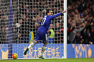Pedro of Chelsea celebrates after scoring his sides 4th goal of the match to make it 4-0. Barclays Premier league match, Chelsea v Newcastle Utd at Stamford Bridge in London on Saturday 13th February 2016.<br /> pic by John Patrick Fletcher, Andrew Orchard sports photography.