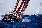 Blues Traveler sailing in the Windward Race at the Antigua Classic Yacht Regatta.