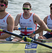 Poznan, POLAND. GBR M4-, Nathaniel REILLY-O'DONNELL, . 2015 FISA European Rowing Championships. Venue, Lake Malta. Saturday 30.05.2015. [Mandatory Credit: Peter Spurrier/Intersport Images] .   Empacher.