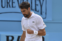 June 23, 2018 - London, England, United Kingdom - Jeremy Chardy of France celebrates during the semi final singles match on day six of Fever Tree Championships at Queen's Club, London on June 23, 2018. (Credit Image: © Alberto Pezzali/NurPhoto via ZUMA Press)