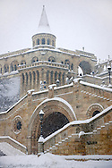 Fisherman's Bastion in the winter snow. Castle district Budapest stock photos