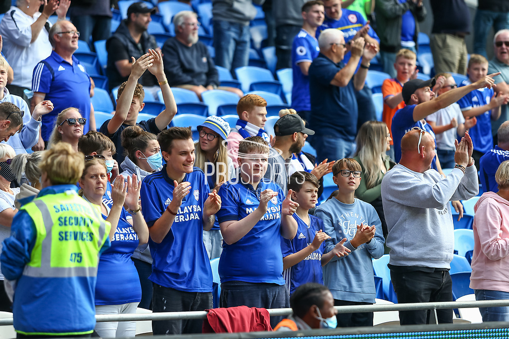Cardiff City fans enjoy the pre-match atmosphere before the EFL Sky Bet Championship match between Cardiff City and Bristol City at the Cardiff City Stadium, Cardiff, Wales on 28 August 2021.