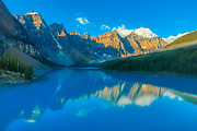Moraine Lake and the Valley of the Ten Peaks at sunrise.<br />Banff National Park<br />Alberta<br />Canada