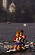 Bled, Slovenia, YUGOSLAVIA. GBR LW2X. Bow, Claire PARKER and Helen MANGAN. 1989 World Rowing Championships, Lake Bled. [Mandatory Credit. Peter Spurrier/Intersport Images]