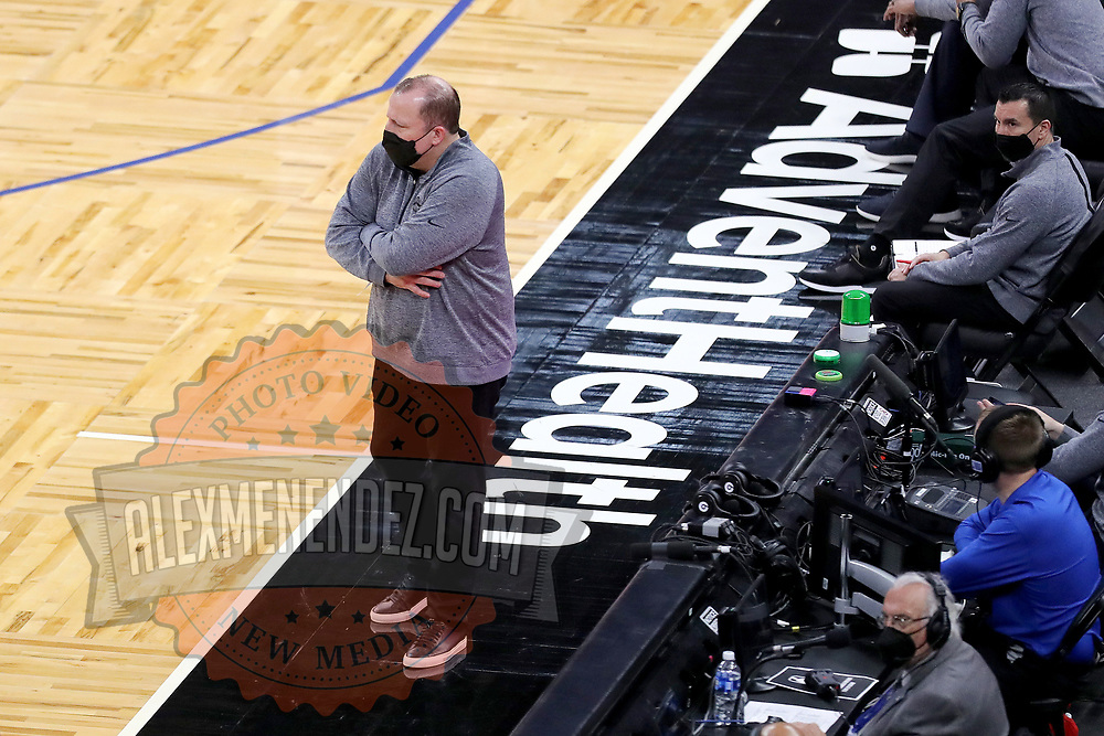 ORLANDO, FL - FEBRUARY 17:   New York Knicks head coach Tom Thibodeau looks on against the Orlando Magic at Amway Center on February 17, 2021 in Orlando, Florida. NOTE TO USER: User expressly acknowledges and agrees that, by downloading and or using this photograph, User is consenting to the terms and conditions of the Getty Images License Agreement. (Photo by Alex Menendez/Getty Images)*** Local Caption *** Tom Thibodeau