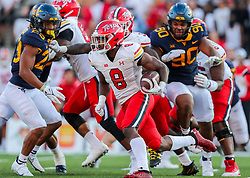 Sep 4, 2021; College Park, Maryland, USA; Maryland Terrapins running back Tayon Fleet-Davis (8) runs the ball during the fourth quarter against the West Virginia Mountaineers at Capital One Field at Maryland Stadium. Mandatory Credit: Ben Queen-USA TODAY Sports