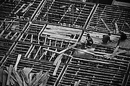 Bird's eye view of workers constructing a house in Sapa city, Lao Cai Province, Northern Vietnam, Southeast Asia
