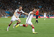 Germany's Mario Götze celebrates scoring their first goal during the 2014 FIFA World Cup Final match at Maracana Stadium, Rio de Janeiro<br /> Picture by Andrew Tobin/Focus Images Ltd +44 7710 761829<br /> 13/07/2014