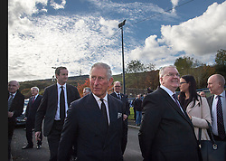 The Prince of Wales at the Aberfan Memorial Garden in Aberfan, Wales on the 50th anniversary of the tragedy.