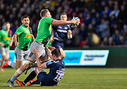 Harlequins No.8 Alex Dombrandt runs through Sale Sharks full back Luke James and off loads to Harlequins scrum-half Danny Care during a Gallagher Premiership match at the AJ Bell Stadium, Eccles, Greater Manchester, United Kingdom, Friday, April 5, 2019. (Steve Flynn/Image of Sport)