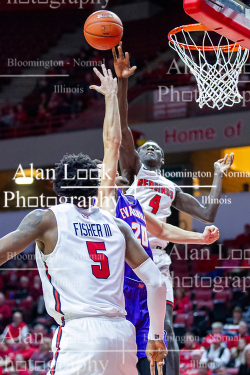NORMAL, IL - January 29: Abdou Ndiaye tips the ball away from Sam Cunliffe during a college basketball game between the ISU Redbirds and the University of Evansville Purple Aces on January 29 2020 at Redbird Arena in Normal, IL. (Photo by Alan Look)