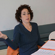 """Ilyse Robbins as Ellen in a rehearsal for Kent Stephen's """"Love and Faith and Other Dirty Words"""""""
