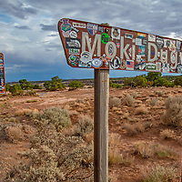 Tourist decals cover road signs  along the Moki Dugway Highway, formerly part of Bears Ears National Monument before it was downsized by the Trump administration.