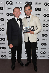 Left to right, SIMON PEGG and CHRIS PINE at the GQ Men of The Year Awards 2016 in association with Hugo Boss held at Tate Modern, London on 6th September 2016.