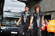 Diego Costa (l) and David Luiz ® of Chelsea chat as they arrive off the team bus ahead of the game. Premier league match, Swansea city v Chelsea at the Liberty Stadium in Swansea, South Wales on Sunday 11th Sept 2016.<br /> pic by  Andrew Orchard, Andrew Orchard sports photography.