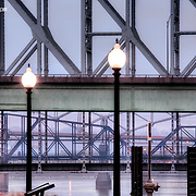 A telephoto look at the Broadway Bridge and AEB Bridge at sunrise in early 2010