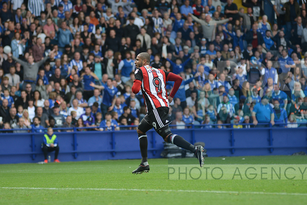 Leon Clarke of Sheffield Utd celebrates Sheffield United's first and his second during the Championship League match at the Hillsborough Stadium, Sheffield. Picture date 24th September 2017. Picture credit should read: Joe Perch/Sportimage