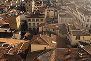 Rooftops in Florence, Tuscany, Italy seen from the tower of the Palazzo Vecchio.<br /> Picture date: Thursday February 21, 2019.<br /> Photograph by Christopher Ison ©<br /> 07544044177<br /> chris@christopherison.com<br /> www.christopherison.com