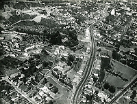 1937 Aerial view looking east down Sunset Blvd. from Holloway St.