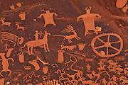 Detail of petroglyph carvings on Newspaper Rock, near Canyonlands National Park, Utah