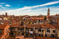 Overview of Venice with Basilica San Marco and Campanile in background), Venice, Italy.