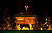 Nativity Scene on top of building at St Thomas University. St Paul Minnesota USA