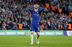 Chelsea's Jorginho reacts after seeing his shot saved in the penalty shoot out during the Carabao Cup Final at Wembley Stadium, London.