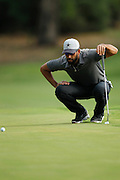 February 16th 2017, Lake Karrinyup Country Club, Perth, Western Australia, Australia; ISPS Handa World Super 6 Perth Golf Tournament Day 1; James Nitties (AUS) lines up his putt on the 1st hole during the opening round of the ISPS Handa World Super 6 Golf Tournament;