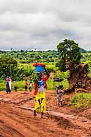 Woman carrying bananas, Bulisa District, Uganda.