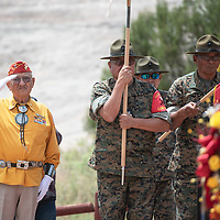 Navajo Code Talker Thomas H. Begay salutes as wreaths are laid at Veterans Memorial Park, Wednesday, August 14 in Window Rock during Navajo Code Talkers Day.