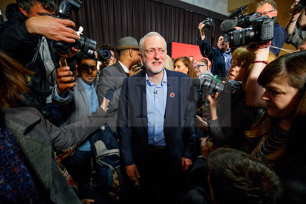 © Licensed to London News Pictures. 29/04/2017. London, UK. Labour leader JEREMY CORBYN leaves after delivering a speech at London Metropolitan University in London on 29 April 2017. Photo credit: Tolga Akmen/LNP