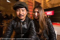 Masumi and her custom bike building husband Go Takamine of Japan at Motor Bike Expo's gala opening party at the Palazzo Della Gran Guardia the night before the show opening. Verona, Italy. Thursday January 18, 2018. Photography ©2018 Michael Lichter.