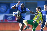 Wycombe Wanderers forward Uche Ikpeazu (9) battles for possession  with Norwich City midfielder Mario Vrancic (8) during the EFL Sky Bet Championship match between Wycombe Wanderers and Norwich City at Adams Park, High Wycombe, England on 28 February 2021.