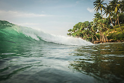 Scenic view of sea wave and palm trees, Indian ocean, Sri Lanka