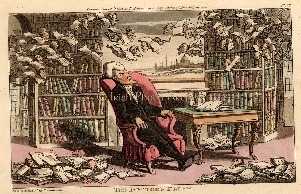 Dr Syntax, having spent the evening in My Lord's library, dreaming he is in the Strand, London, with books flying all round him.  Illustration by Thomas Rowlandson for 'The Tour of Dr Syntax in Search of the Picturesque' by William Combe (London, 1815). Aquatint.