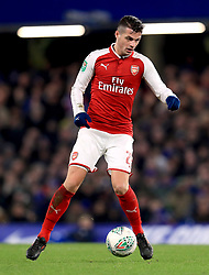"""Arsenal's Granit Xhaka during the Carabao Cup Semi Final, First Leg match at Stamford Bridge, London. PRESS ASSOCIATION Photo. Picture date: Wednesday January 10, 2018. See PA story SOCCER Chelsea. Photo credit should read: Mike Egerton/PA Wire. RESTRICTIONS: EDITORIAL USE ONLY No use with unauthorised audio, video, data, fixture lists, club/league logos or """"live"""" services. Online in-match use limited to 75 images, no video emulation. No use in betting, games or single club/league/player publications."""