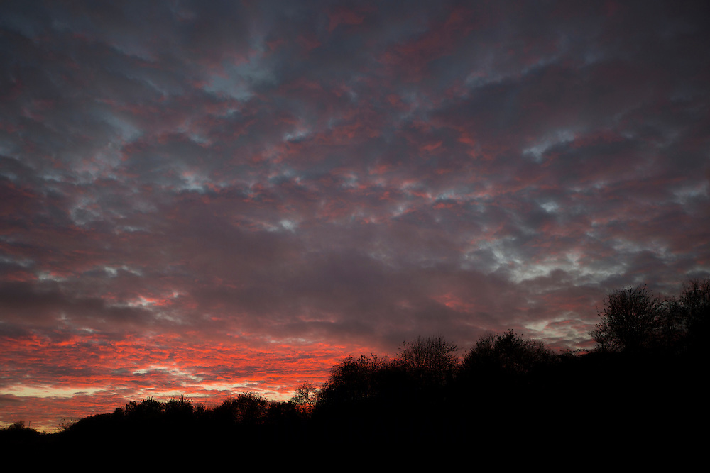 Dramatic evening sky at sunset in The Cotswolds, Oxfordshire, United Kingdom